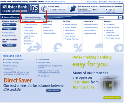 Why does ulster banks online banking bankline suck click 1 go to ulsterbank and click business banking reheart Image collections